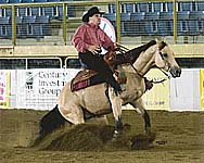 Dexter on Wisper at the �08 International Reining Festival in Denver.